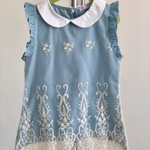 Blue Embroidered Dress Size 4/5